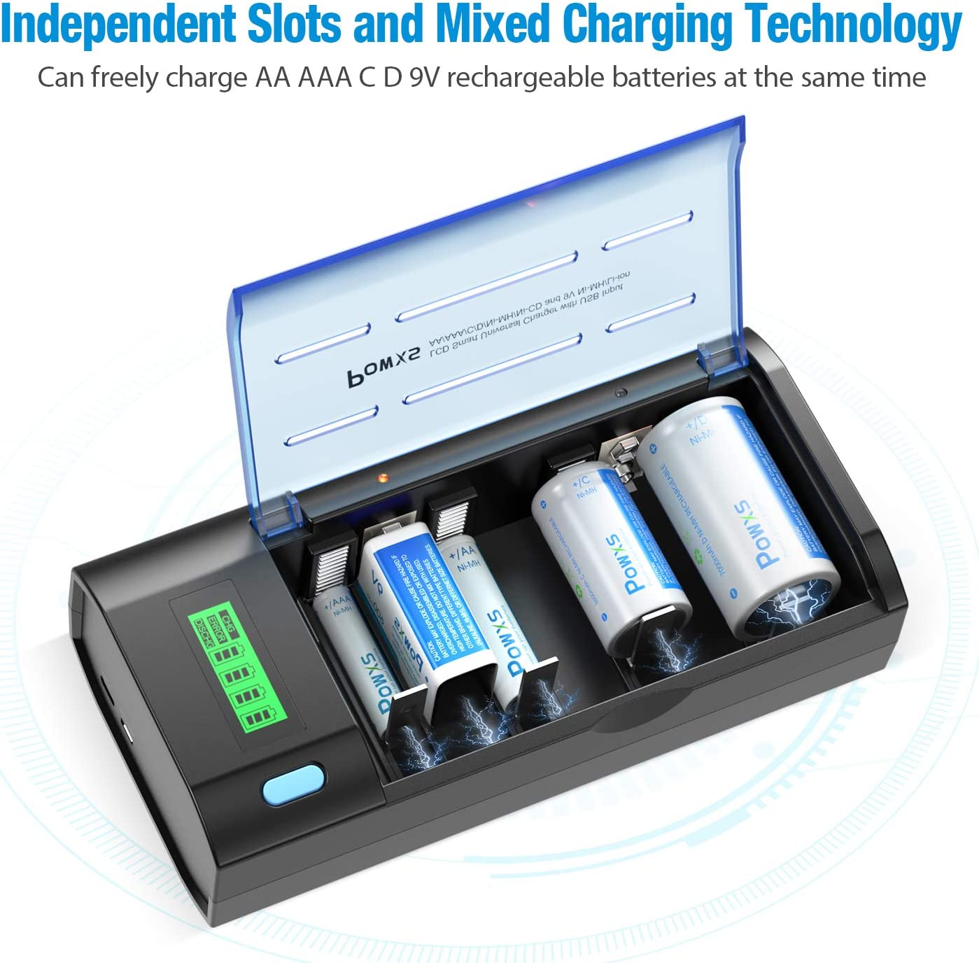 POWXS LCD Upgrade 12 Bay AA AAA 9V Battery Charger for Ni-MH Ni-CD Rechargeable Batteries