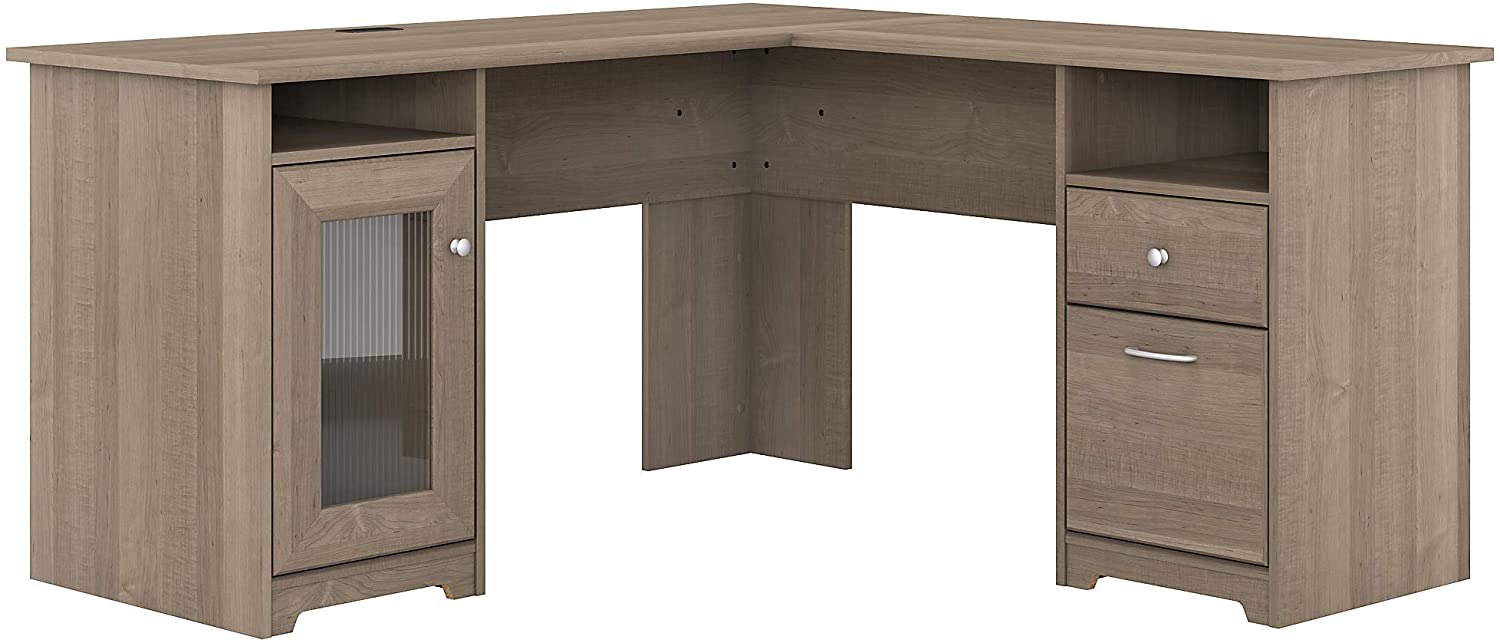 Bush Furniture Cabot L Shaped Computer Desk, 60W, Ash Gray