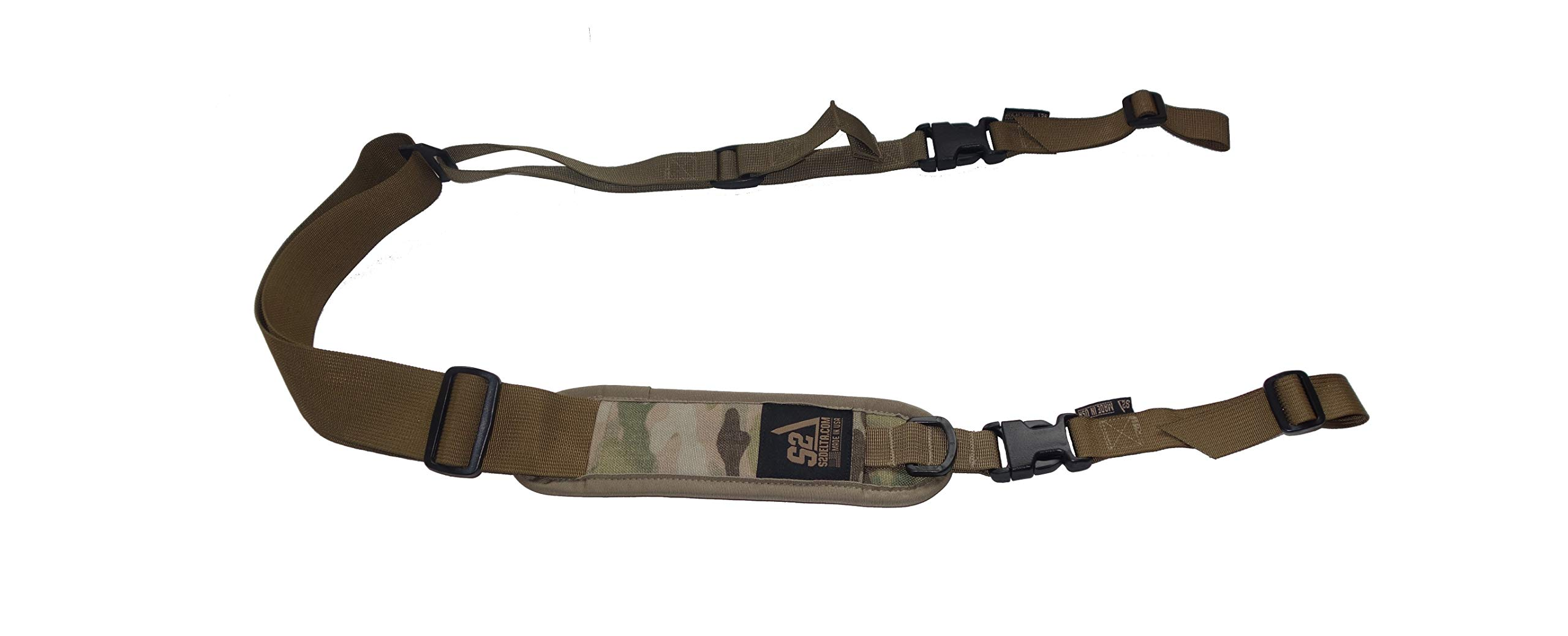 S2Delta - USA Made Premium 2 Point Rifle Sling, Fast Adjustment, Modular Attachment Connections, Comfortable 2'' Wide Shoulder Strap (Coyote Tan Pigtail Padded, Full Sling (Padded)) by S2Delta