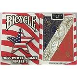 bicyclette rouge, blanc et bleu série de trois cartes à jouer en étoile Bicycle Red White and Blue Series 3 Star Design Playing Cards