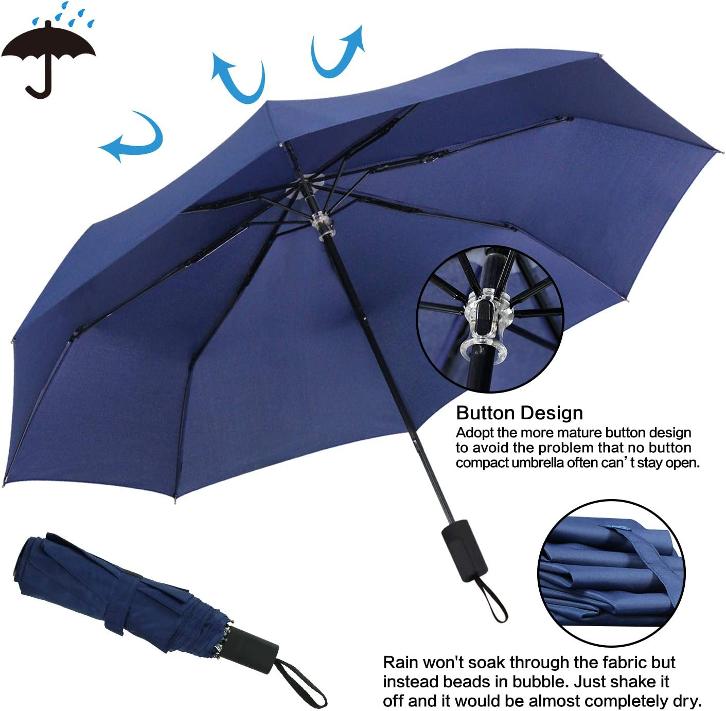 Ladies 42 Inches Automatic Opening and Closing,Gold Star Trophy Against Blue Background,Windproof Rainproof 10 Ribs Men RLDSESS Star Travel Folding Umbrella
