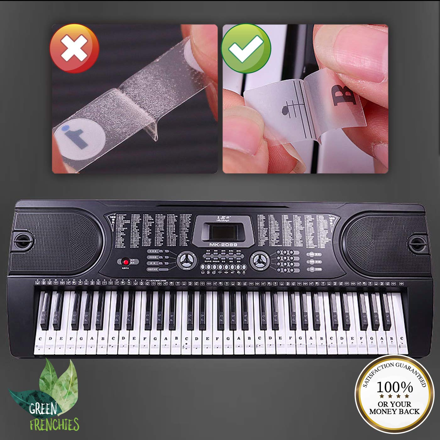 Green Frenchies G.F. Piano Keyboard Stickers, Transparent Stickers for White and Black Keys, Removable Stickers for 37, 49, 54, 61, and 88 Keys with Instructions by Green Frenchies (Image #4)