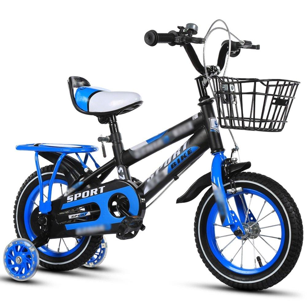 FEIFEI 子供用自転車12インチ14インチ16インチ18インチオレンジレッドブルーハンドルバーシートの高さ調節可能 (色 : 青, サイズ さいず : 14 inch) B07CRFYNXP 14 inch|青 青 14 inch