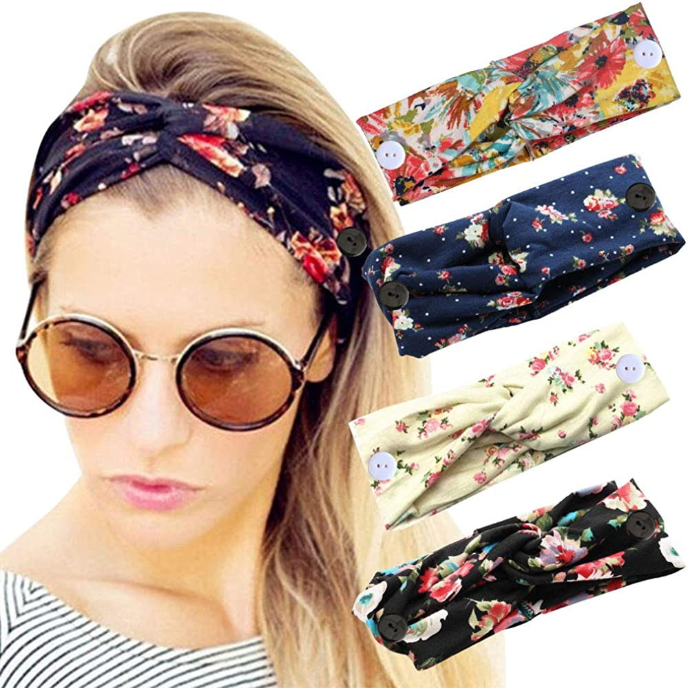 Sarfel Boho Headbands for Women Headbands with Buttons for Mask Nurses Bandannas for Head Wraps Elastic Hair Band 4 Pack Floral w Botton at  Women's Clothing store