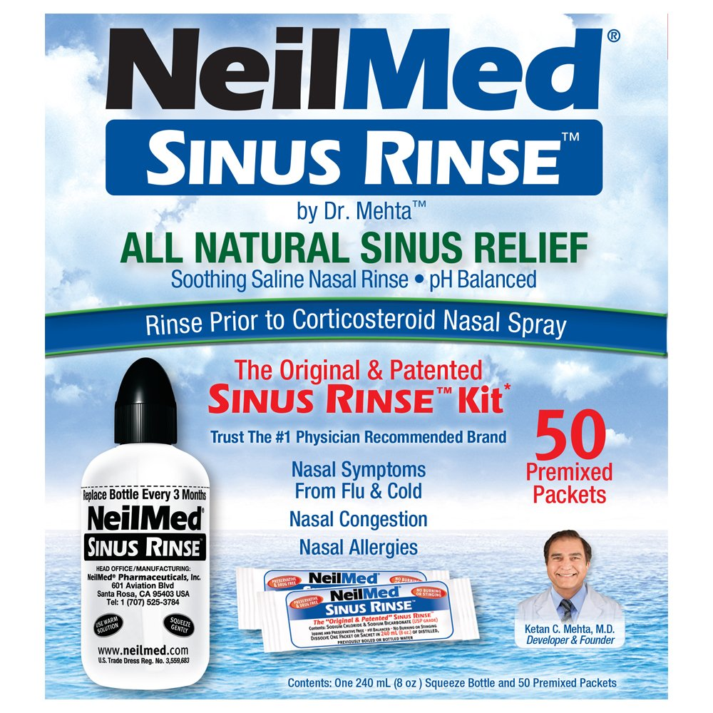 NeilMed Sinus Rinse - A Complete Sinus Nasal Rinse Kit, 50 count (Pack of 1)