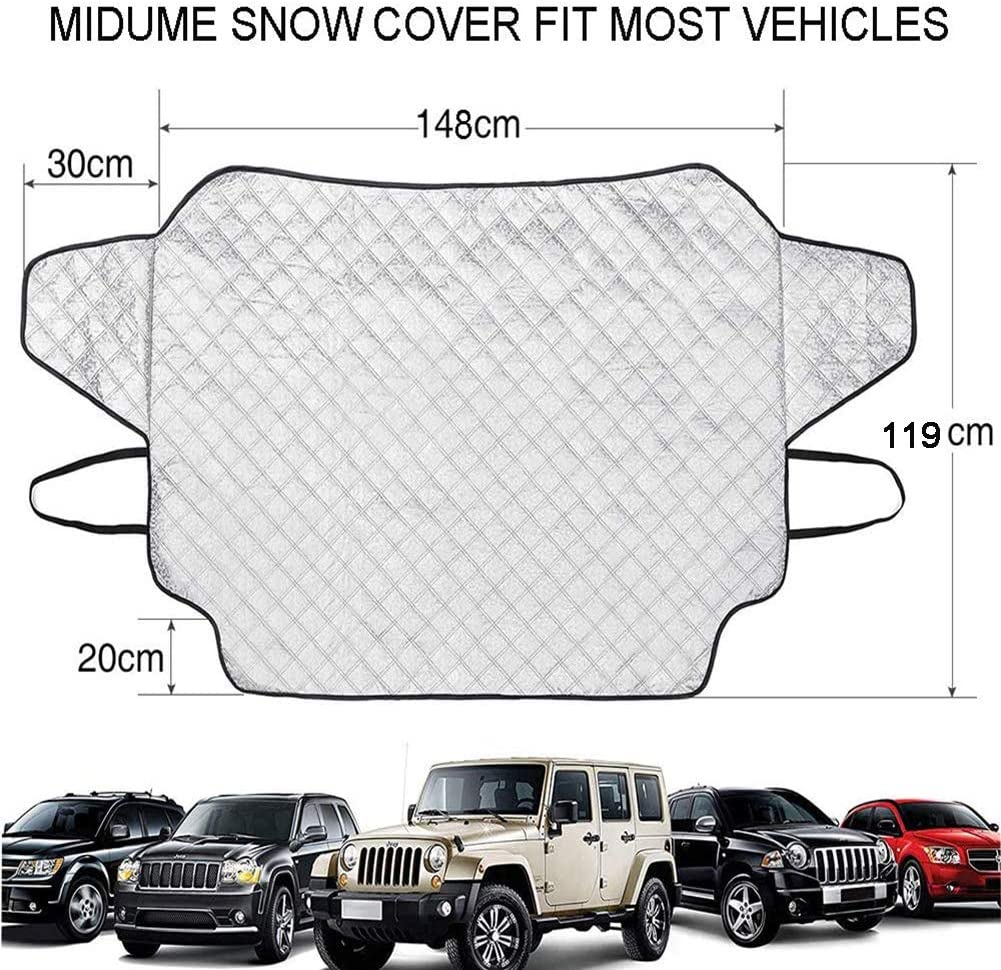 Windshield Snow Ice Cover with 3 Strong Magnetics Car Windshield Snow Cover 4 Layers of Protection Anti-Snow-Ice//Anti-Fog Thickened Windshield Snow Cover for Car Medium Cover