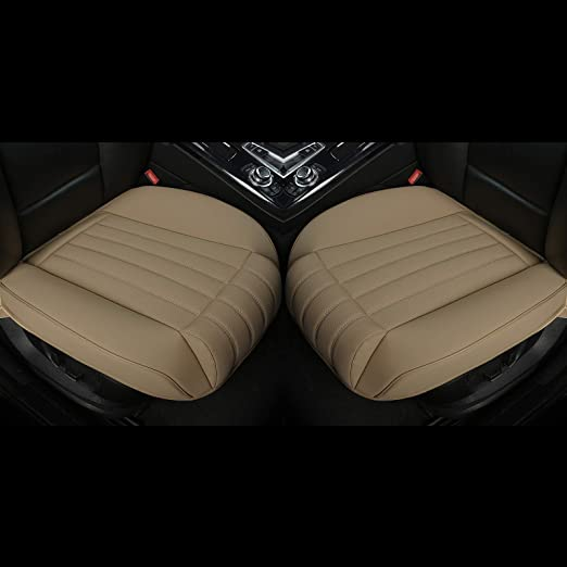 Deep20.86 inch /× Width20.86 inch /× Thick 0.4 inch 2PCS Leatherette Seat Covers Car Front Seat Protector Car Seat Covers with Side Flaps and Leg Rest EDEALYN with Leg Rest - Beige