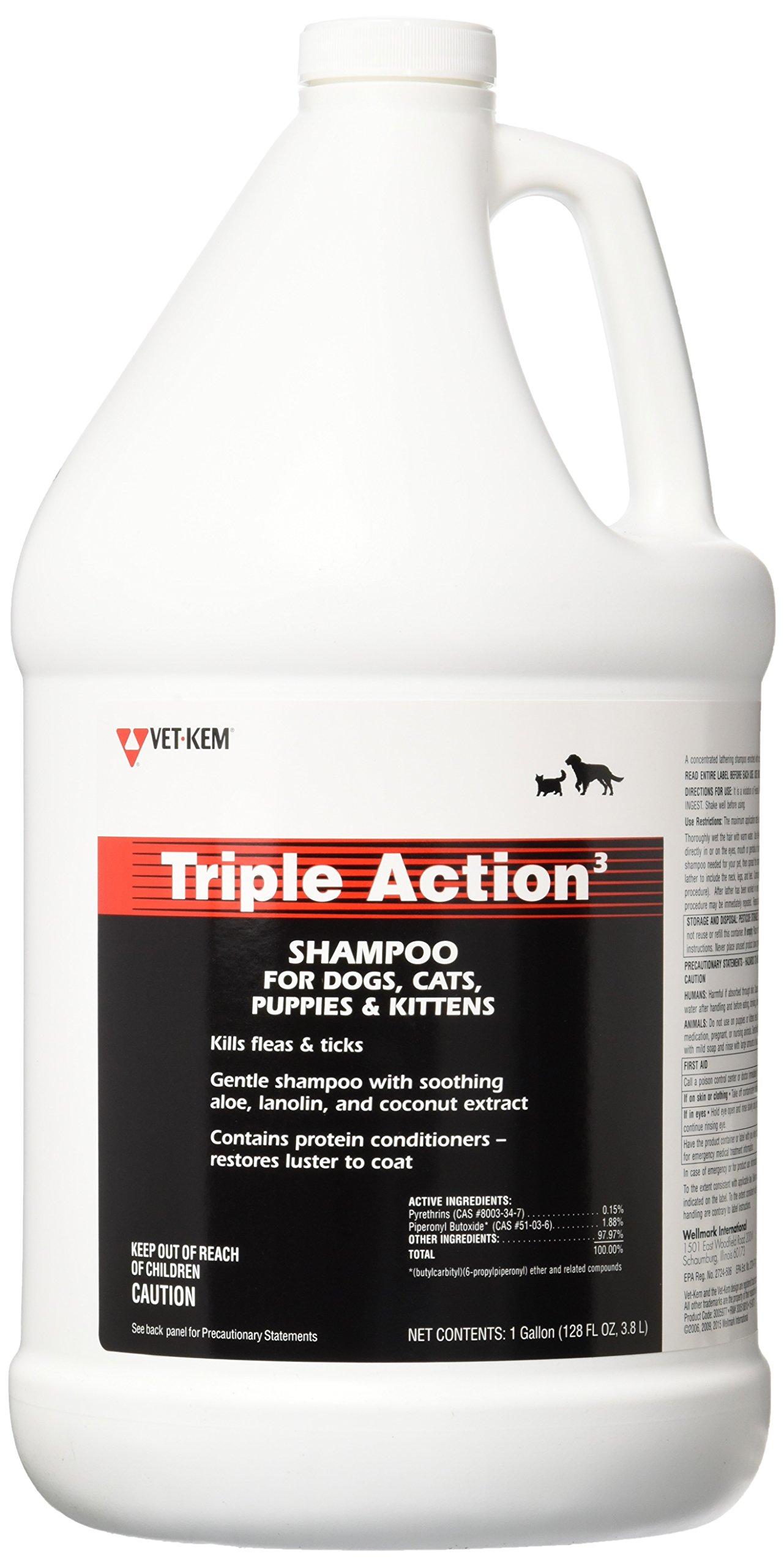 VET-KEM Triple Action Pet Shampoo, 1-Gallon