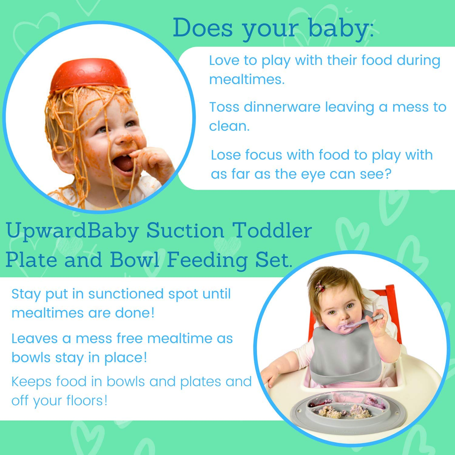 BPA Free UpwardBaby Silicone Non Slip Baby Feeding Set Placemats with Spoons Included Toddler Plate and Bowl Set with Suction for Kids