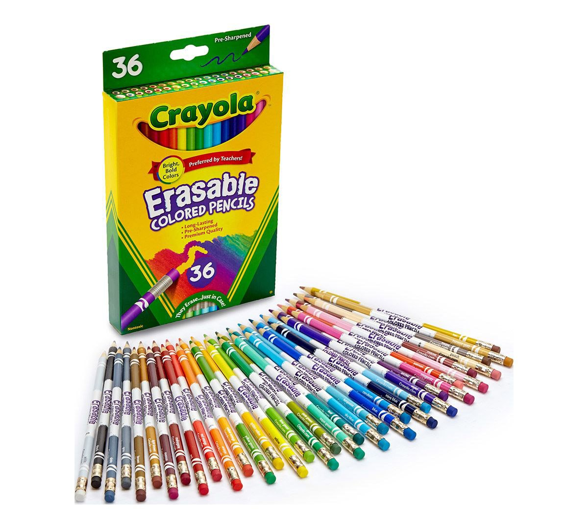 Crayola Erasable Colored Pencils, 36 Non-Toxic, Pre-Sharpened, Fully Erasable Pencils Colored Pencil Set for Adult Coloring Books or Kids 4 & Up, Great for Shading, Gradation, Line Art & More by Crayola
