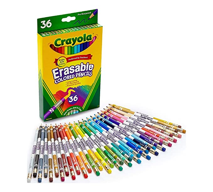 Crayola Erasable Colored Pencils, 36 Non Toxic, Pre Sharpened, Fully Erasable Pencils Colored Pencil Set For Adult Coloring Books Or Kids 4 & Up, Great For Shading, Gradation, Line Art & More by Crayola