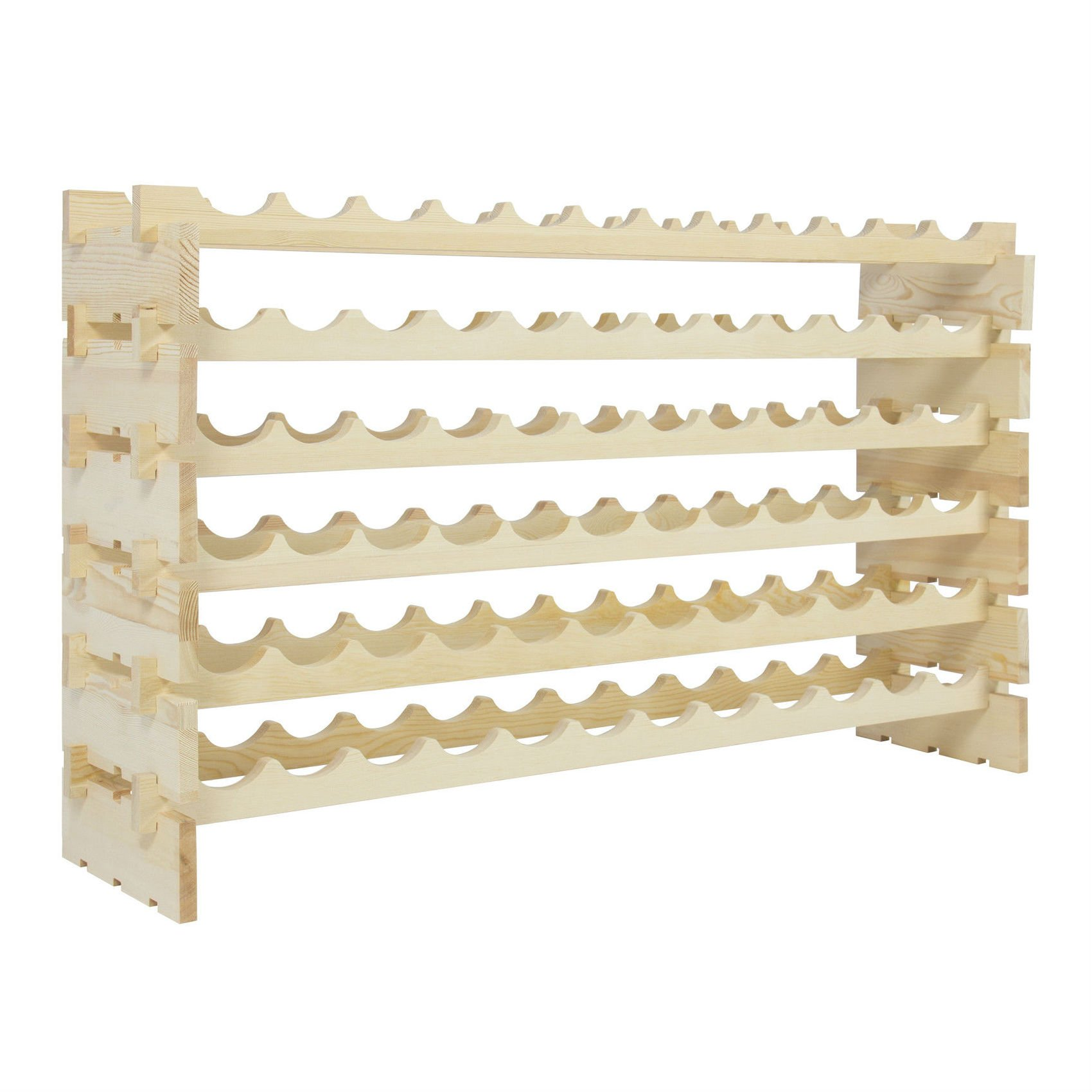 Wine Rack 72 Bottles Stackable Storage 6 Tier Solid Wood Display Shelves Most Viewed