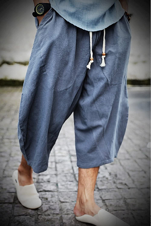 b221e6c2ac33 Banana Bucket Men s Patchwork Shorts Loose Linen Harem Capri Pants at  Amazon Men s Clothing store