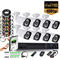 8Channel CCTV security Kit 1080P/2.0MP 1920X1080 Camera 8CH Surveillance DVR kit with 8pcs 2.0mp 1080P Metal Outdoor Bullet Camera Alarm System&P2P Home Security (8, 1TB HDD)
