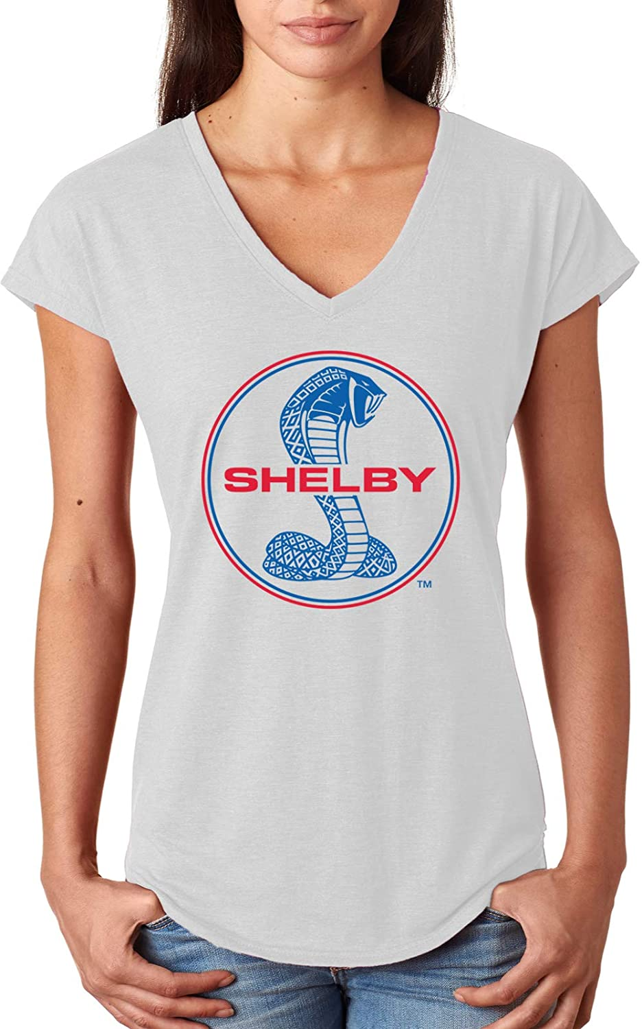 Ladies Ford Mustang T-Shirt Shelby Blue and Red Logo Triblend V-Neck