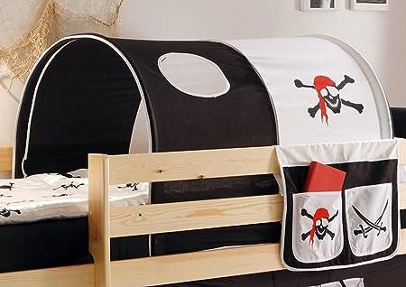 Nero-bianco Konrad AVANTI TRENDSTORE Tunnel e tasca per letto a soppalco per bambini stoffa in cotone con motivi diversi Dimensioni: LAP 90x76x100 cm