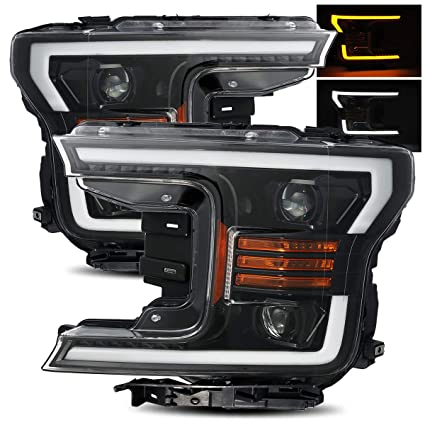 Modifystreet Polished Black 18 19 Ford F150 Halogen Type Polished Black Switchback Drl Signal Led Tube Dual Projector Headlights