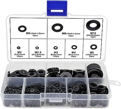 100 pezzi colore: nero M8 x 16 x 1,4 mm Rondelle isolanti piatte in nylon