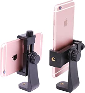 Ulanzi Phone Tripod Mount Adapter/Vertical Bracket Smartphone Holder/Cell Phone Clip Clipper Sidekick 360 Degree Smartphone Video Tripod Clamp Compatible for iPhone Xs X 7 Plus Samsung Android