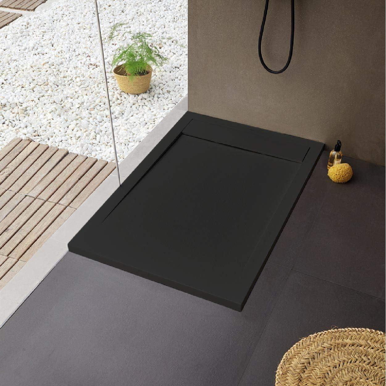 Plato de ducha extraplano, superficie de pizarra, color negro: Amazon.es: Bricolaje y herramientas