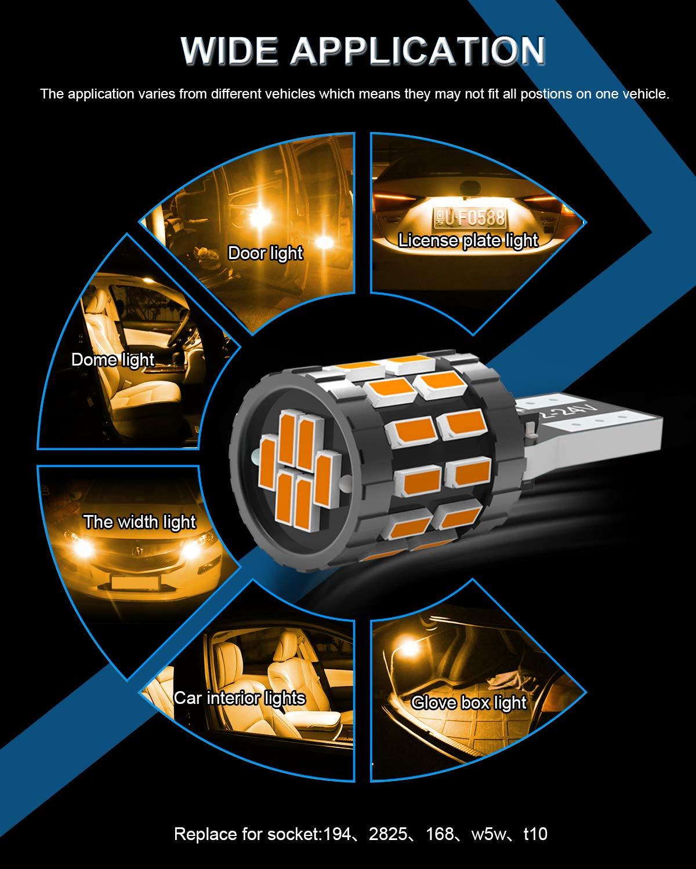 KATUR T10 W5W LED Bombilla 194 168 Superbrillante Azul 30 Versi/ón Mejorada 3014 Chip 12-24V CANBUS Sin Errores Luz de matr/ícula de cortes/ía de la Puerta del Mapa del Domo del autom/óvil