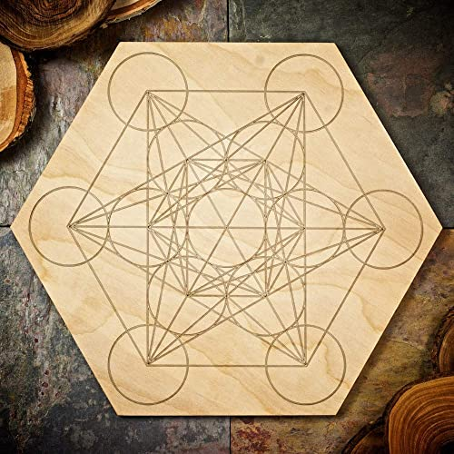 Large Metatron s Cube Grid Board – Large Sacred Geometry Grid Board – 11.75 inches