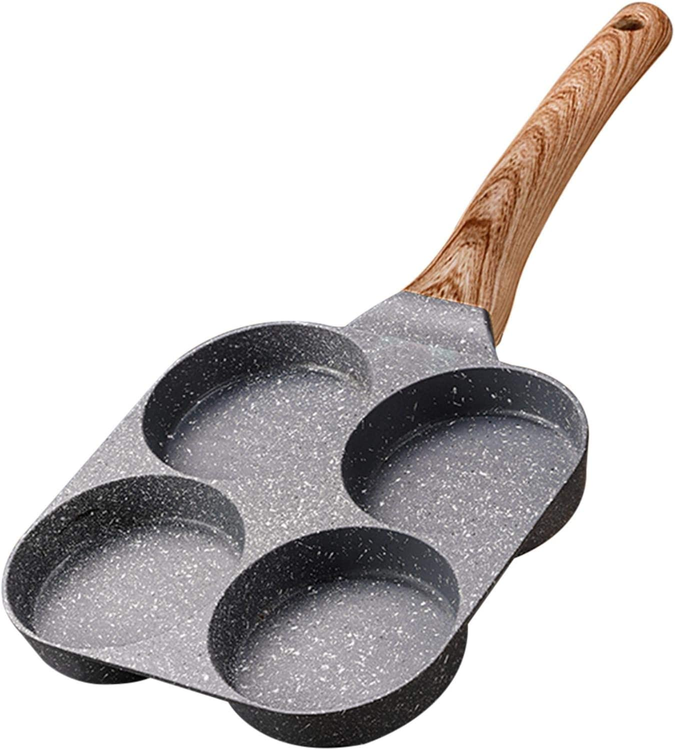 YBENWL Egg Frying Pan, Non Stick Egg Cooker Pan 4-Hole Omelet Pan Egg Pancake Pan with Wooden Handle,Gas Stove Fried Poached Egg Pan for Poaching Eggs, Work with Open Flame and Gas Stove
