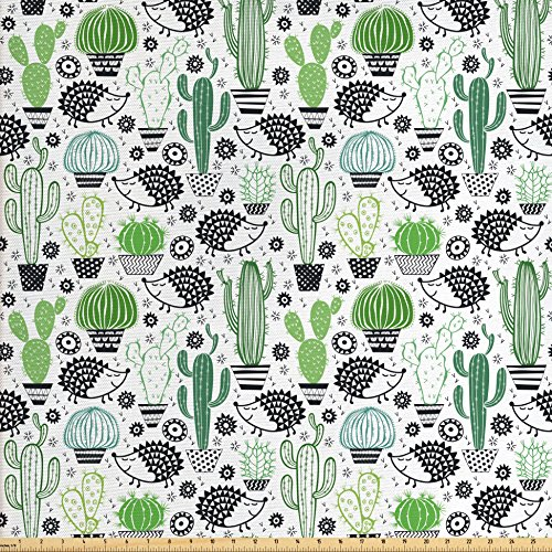 or Fabric by The Yard, Cartoon Inspired Drawing of Cute Hedgehog Animals Saguaro and Prickly Pear, Decorative Fabric for Upholstery and Home Accents, Multicolor ()