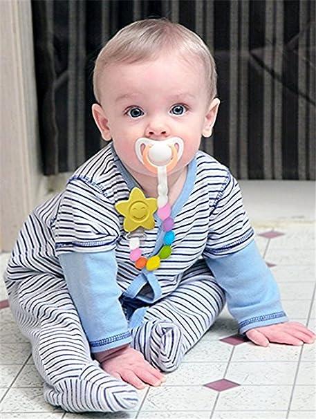 INCHANT Antibacteriana Chupete de Silicona Clip juguete de silicona libre de BPA uso con cualquier chupete o Mordedor Bebé de la dentición corto ...