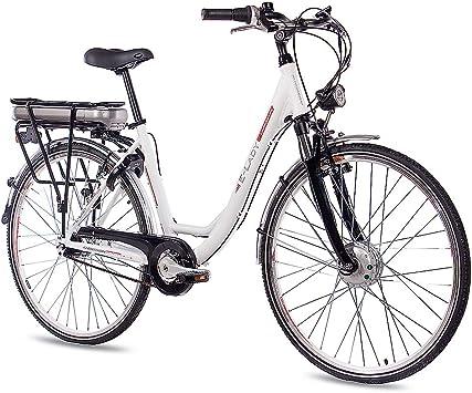 Bicicleta eléctrica de Chrisson de 28 pulgadas, de aluminio, caja de cambios Shimano 7G y StVZO, color blanco mate: Amazon.es: Deportes y aire libre