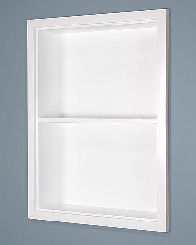Fox Hollow Furnishings 14×18 White Sloane Wall Niche w Plain Back and 1 Shelf