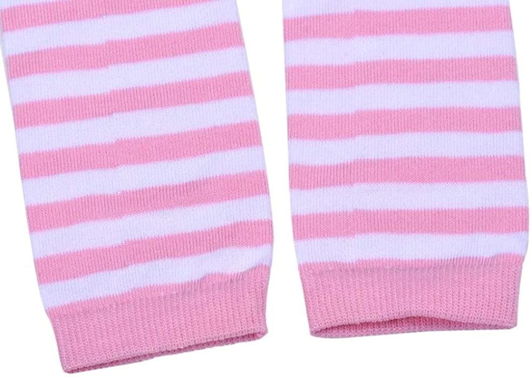 Saingace 1 Pair Child Girl Kneepad Socks Long Sock Winter Keep Warm Stripe Leg Warmer