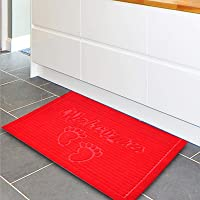 Bathroom Mat, Easy to Clean Non-Slip Pad, Floor Mat Soft and Elastic for Bathroom Kitchen(red)