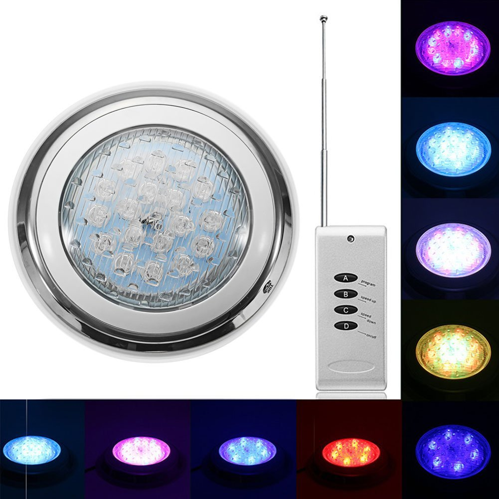 NOPTEG LED Swimming Pool Light 54W AC 12V RGB IP68 LED Remote Control Underwater Lamp Outdoor Lighting Pond Lights Stainless Steel/Surface