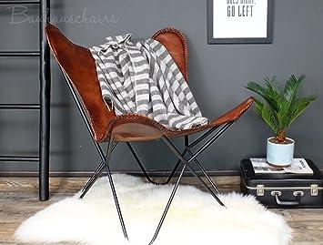 Bauhauschairs Butterfly Chair Flair Cognac Schmetterlingsstuhl Echt Leder  Stahlgestell