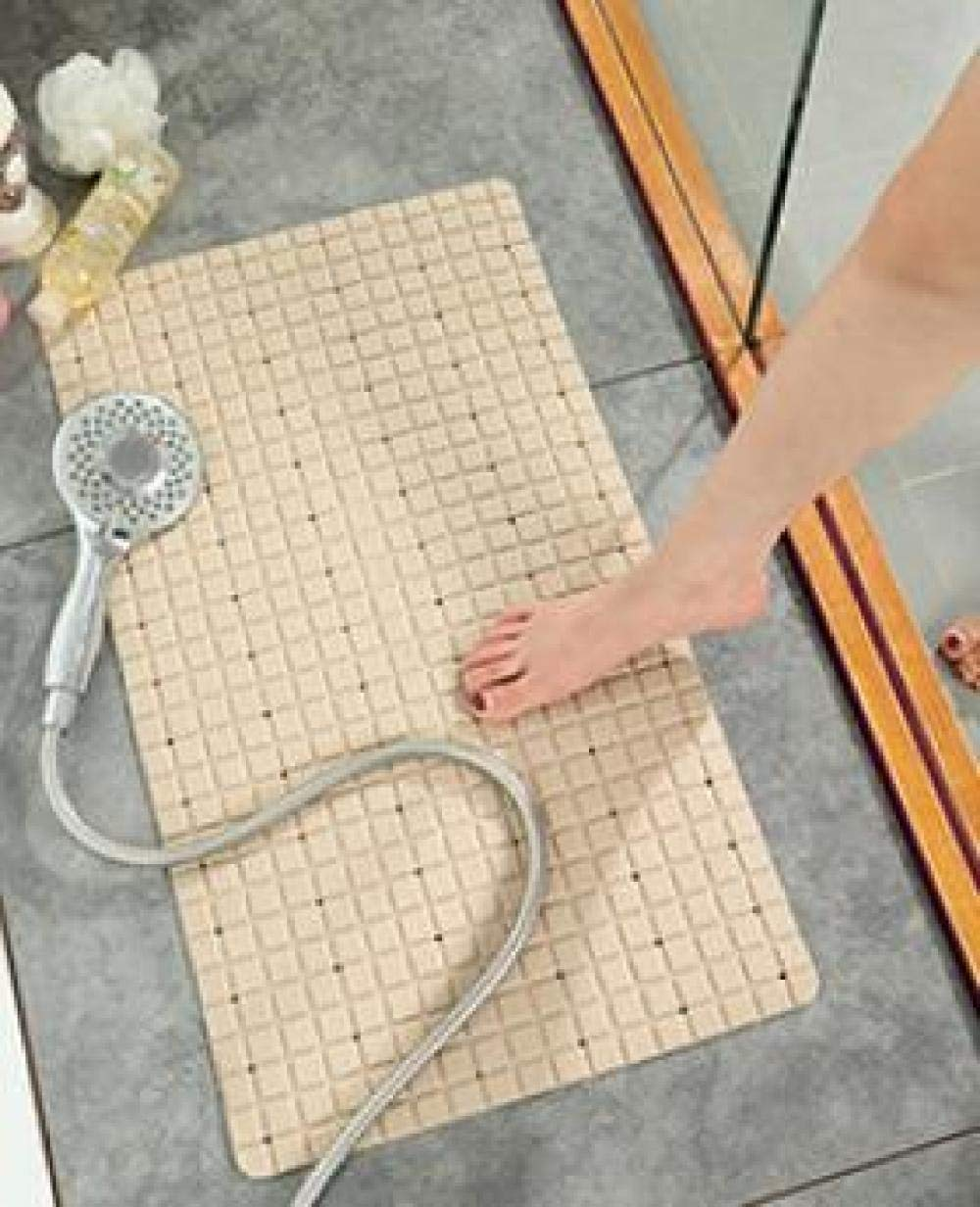 WOSBE Duschmatte rutschfest quadratisch modern Rechteckige quadratische erh/öhte PVC-Badezimmer-Saugnapfmatte 40 71cm beige