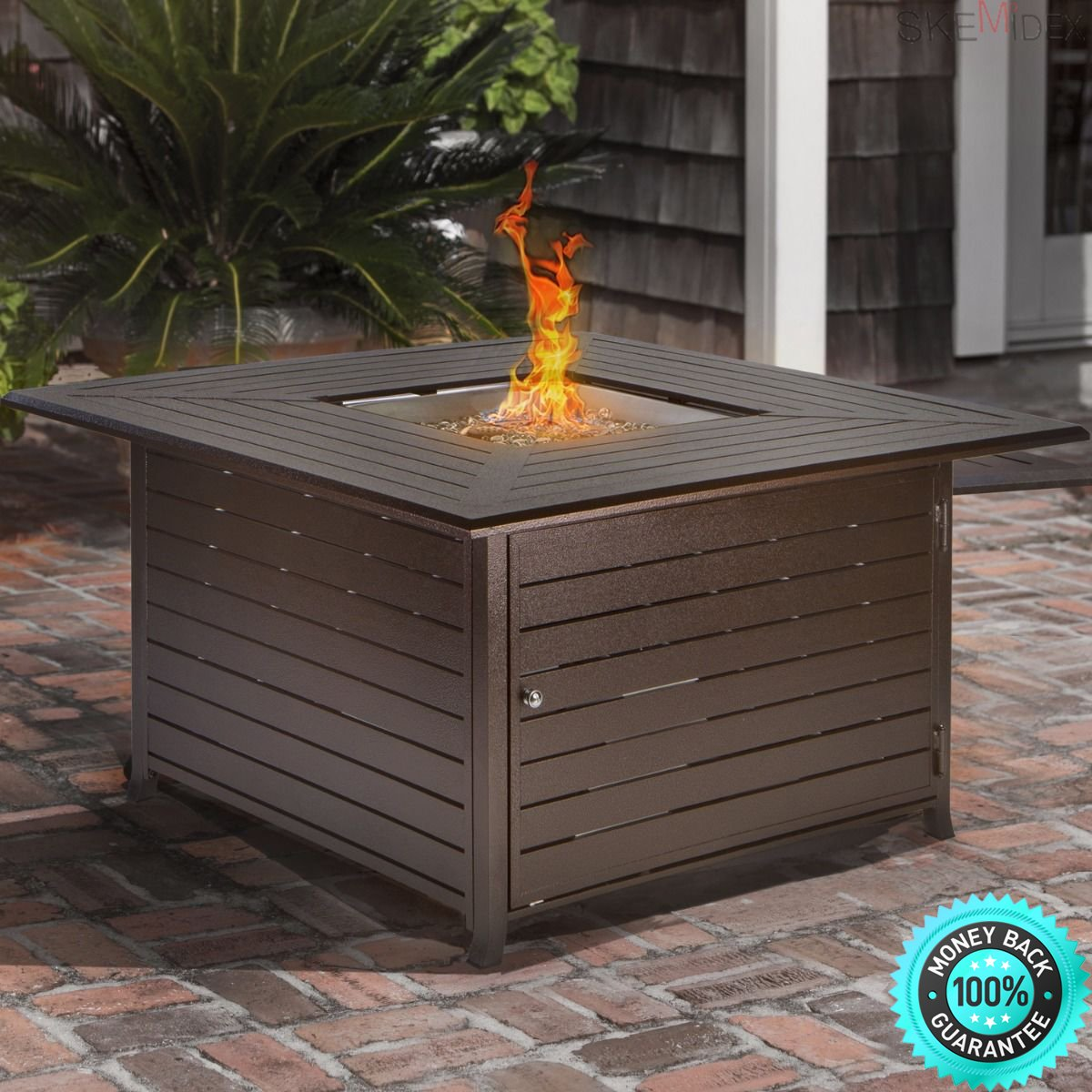 SKEMIDEX---Outdoor Backyard Patio LP Propane Gas Fire Pit Heater Square Table With Cover And chiminea clay terracotta chiminea clay chiminea for sale mexican clay chiminea chiminea lowes chiminea