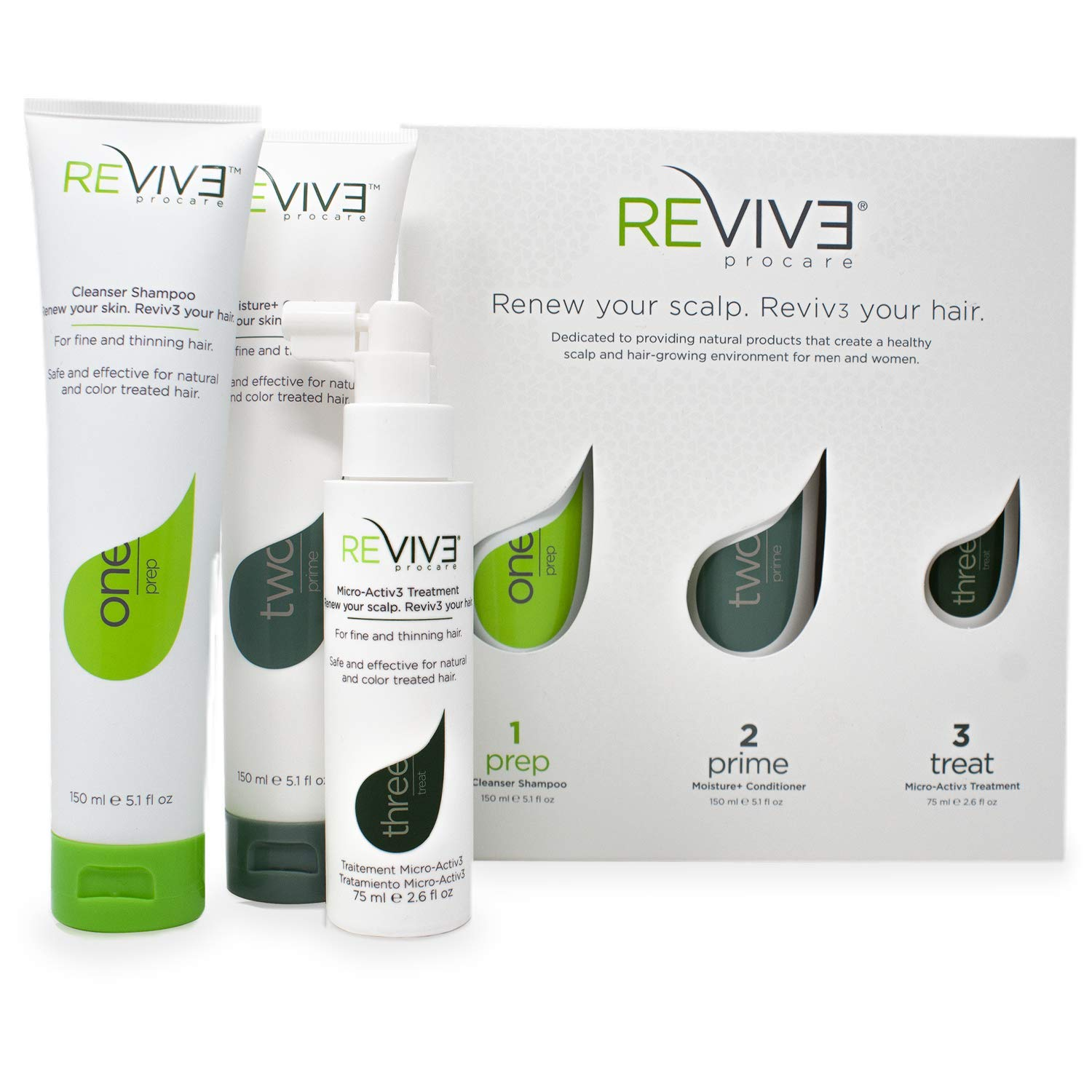 REVIV3 Procare 30 Day Trial Kit - 3-Part System for Fine and Thinning Hair - Sulfate and Paraben Free - Leave-In Hair Treatment Shampoo and Conditioner - Thinning Hair Treatment for Men and Women by REVIV3 ProCare