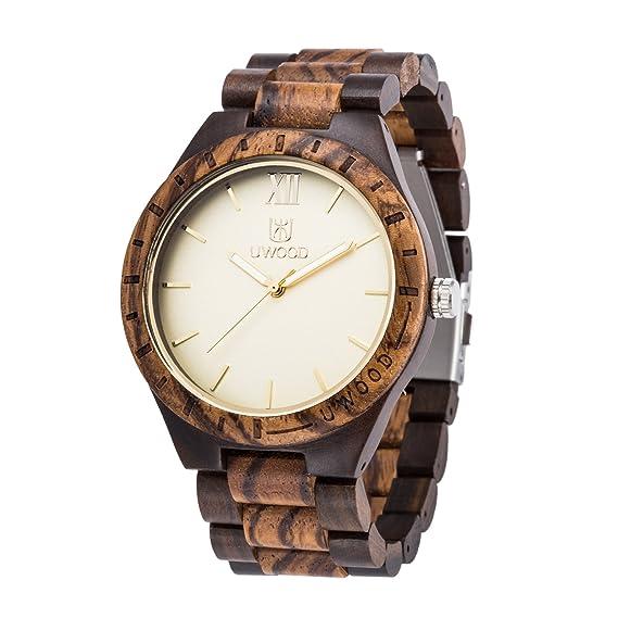 Uwood - Reloj para hombre de madera estilo vintage con mezcla de madera de sá