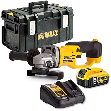 DEWALT DCG412N 18V Angle Grinder 125mm with 2 x 5.0Ah Batteries /& Charger