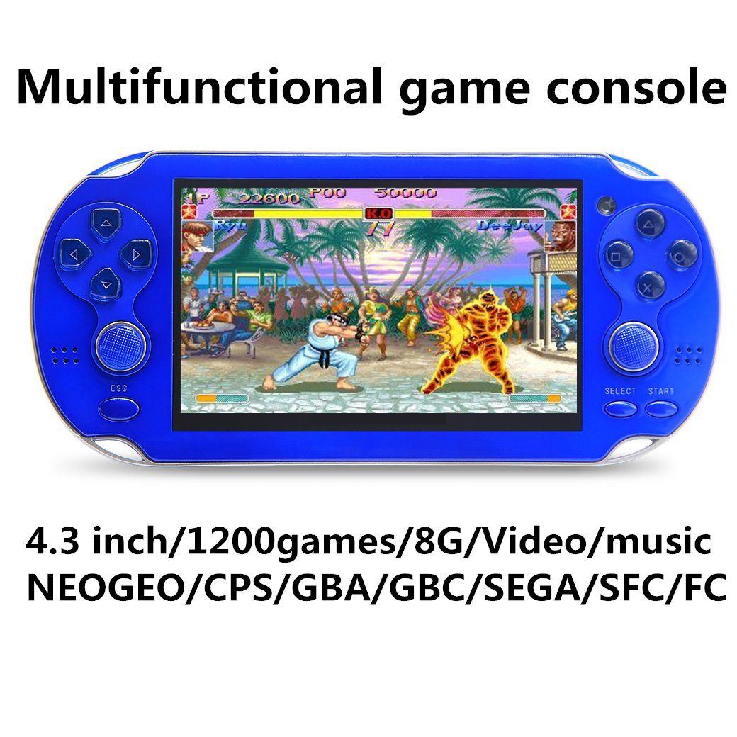 JXD new 4.3 inch 8GB build in 1200+ games for Arcade NEOGEO/CPS/FC/SFC/GBA/GBC/GB/SMC/SMD/SEGA Handheld Game Console Video Game Console game Player MP3 MP4 MP5 (Blue)