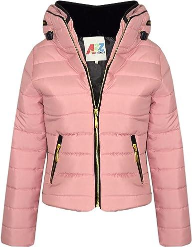 Kids Girls Jacket Baby Pink Hooded Padded Zipped Back To School Jacket Warm Coat