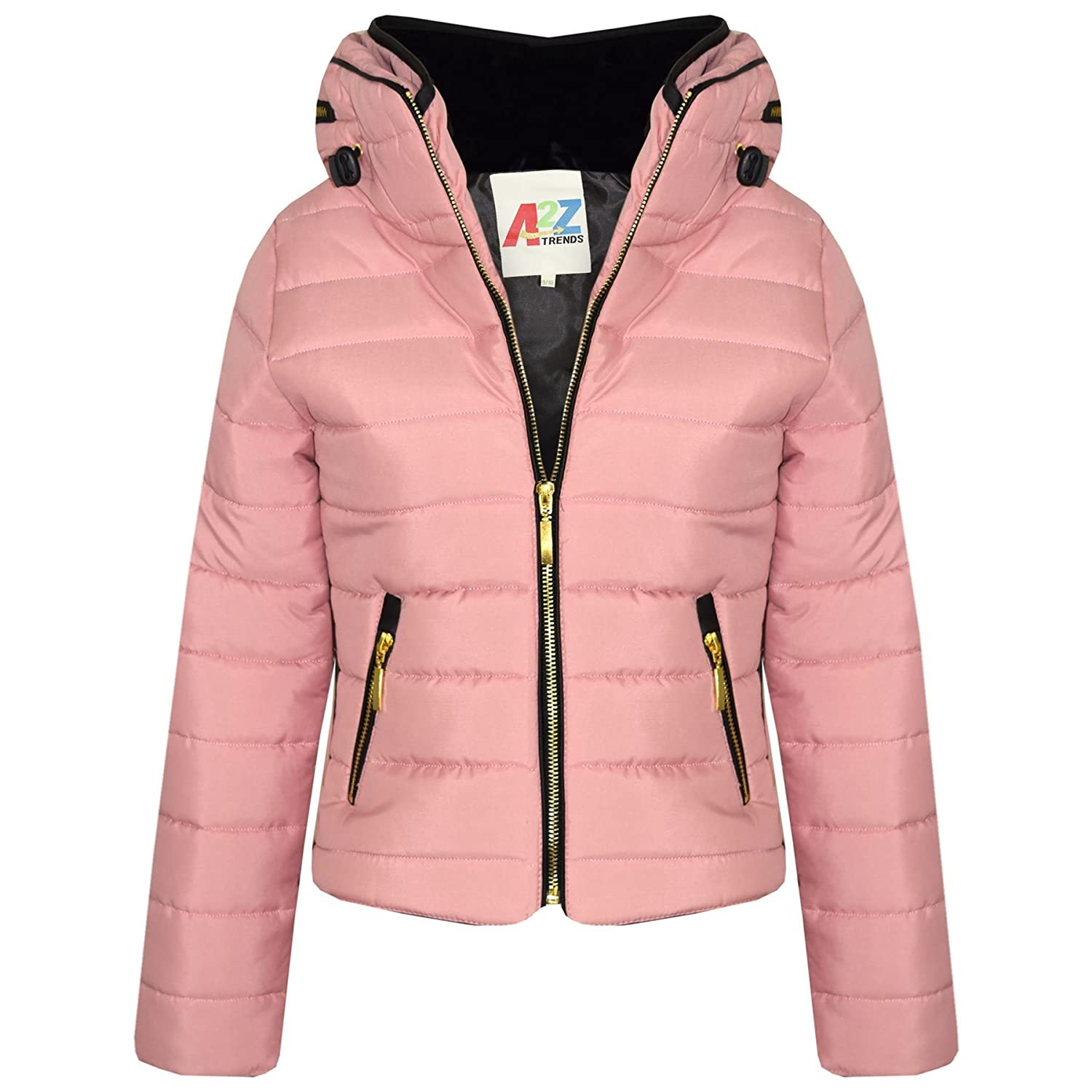 A2Z 4 Kids/® Girls Jacket Kids Quilted Padded Puffer Bubble Faux Fur Collar Warm Thick Coats