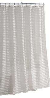 Fabric Shower Curtain Natural Linen Blend White And Ivory Stripes