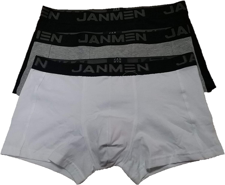 JAN-MEN Janira, Boxer TRIPACK Supreme DE ALGODÓN, TM. Negro-Gris ...