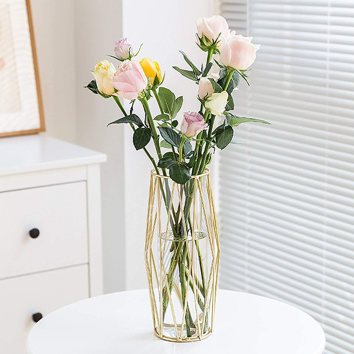 Gelible Geometric Glass Vase with Metal Bracket, Crystal Transparent Inner Vase, Hand-Plated Geometric Metal Vase, Light Gold Color Vase Decoration for Home Office Wedding Holiday Party Gifts