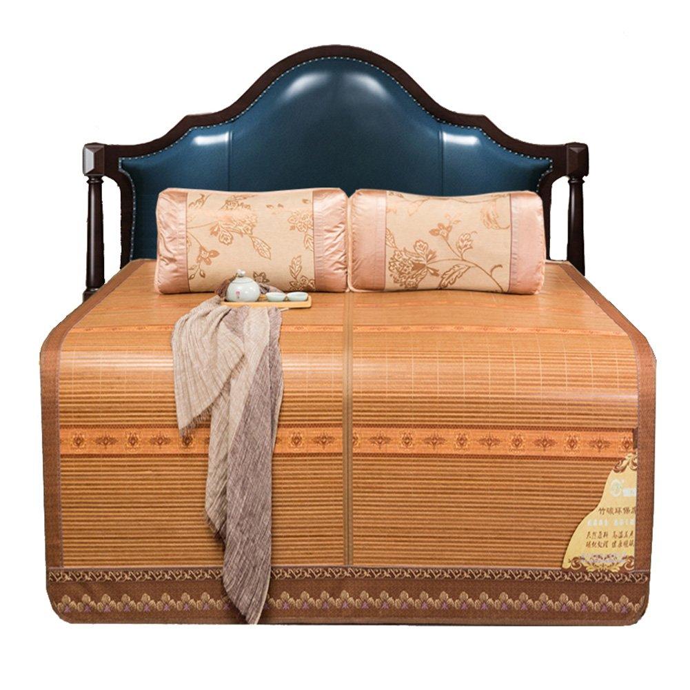 WENZHE Bambus Matratzen Sommer-Schlafmatten Strohmatte Teppiche Zusammenklappbar Beidseitig Hartmetall Holzmaserung, 2 Arten, 3 Größen (Farbe : 1 , größe : 1.5×1.95m)
