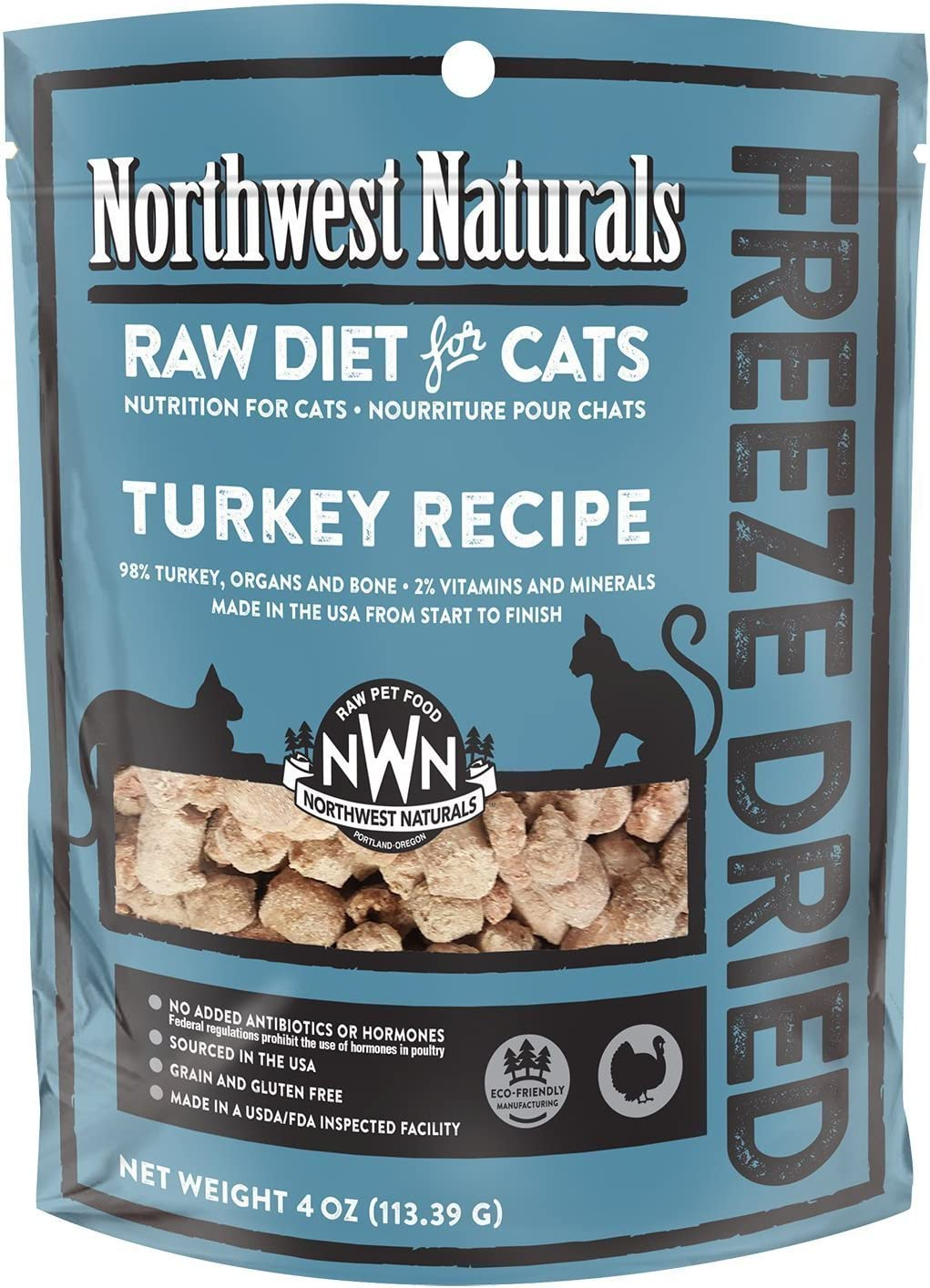 Northwest Naturals Freeze-Dried Raw Cat Food, 4 Ounces Each, Turkey Recipe