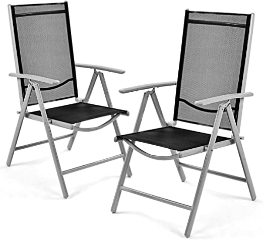 Amazon Com Giantex Set Of 2 Patio Folding Chairs Adjustable
