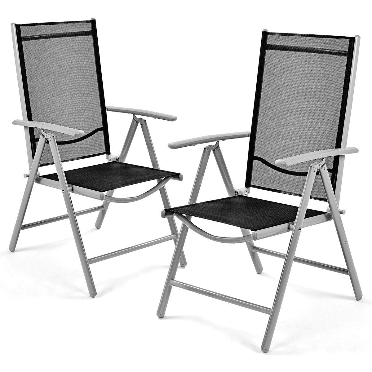 Giantex Set of 2 Patio Folding Chairs Adjustable Reclining Indoor Outdoor Garden Pool by Giantex